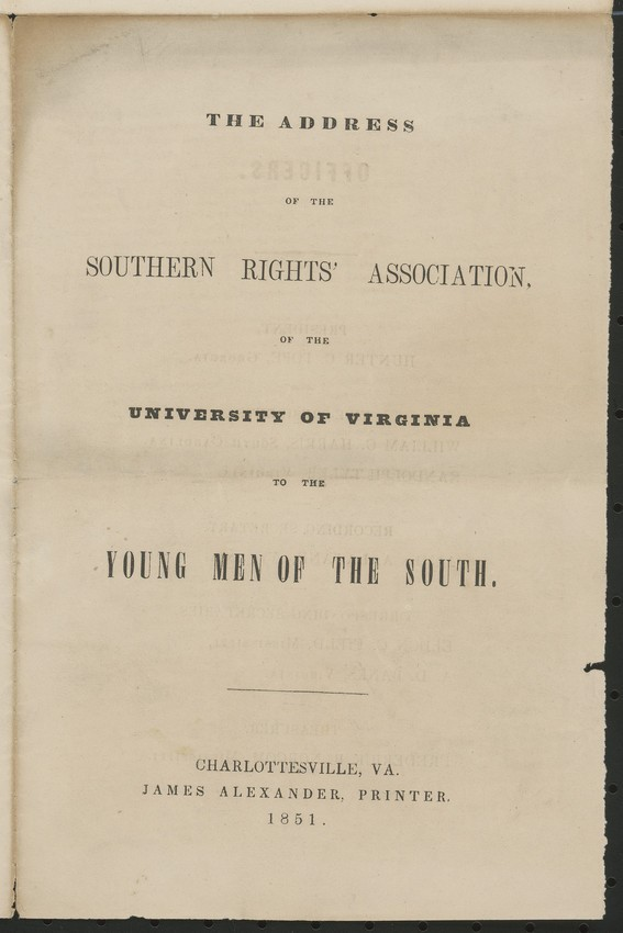 Southern Rights Association Pamphlet